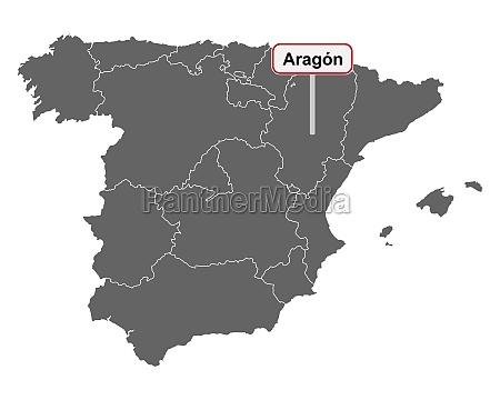 landkarte von spanien mit ortsschild aragon