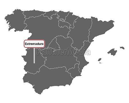landkarte von spanien mit ortsschild extremadura