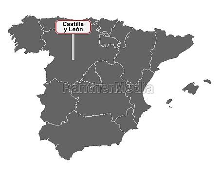 landkarte von spanien mit ortsschild castilla
