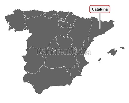 landkarte von spanien mit ortsschild cataluna