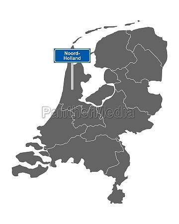landkarte der niederlande mit ortssschild noord