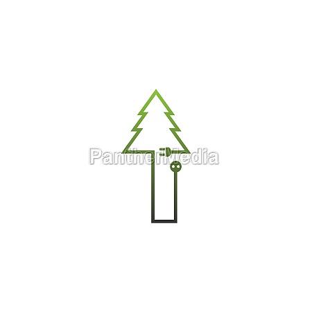 i letter tree logo concept letter