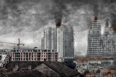 view of post apocalyptic cityscape digital
