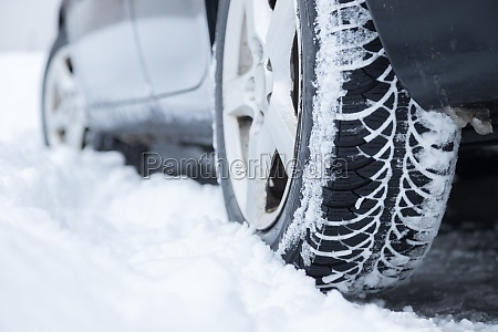 car tire in winter on the