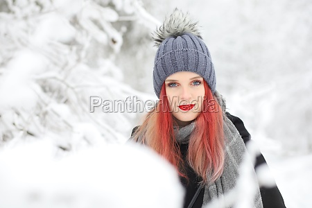 front view of red hair attractive