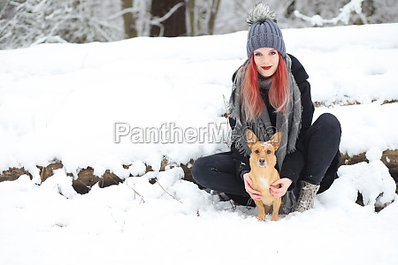 beautiful red hair girl is posing
