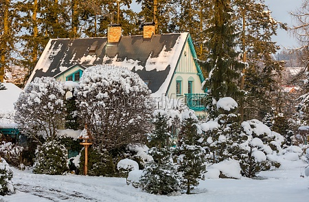 beautiful house in winter garden covered