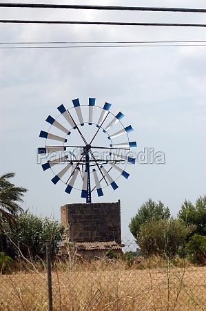 wind wheel or windmill in mallorca