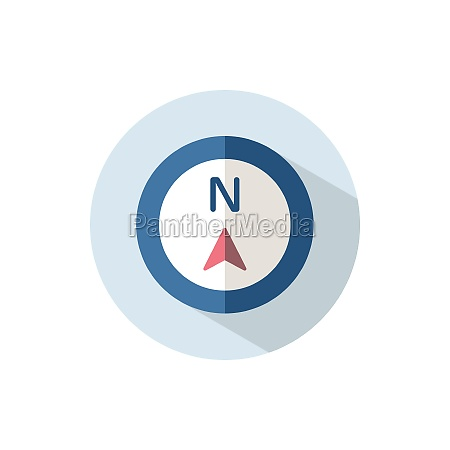 north direction flat icon on a