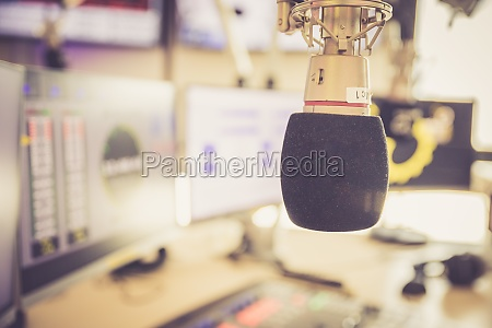radio broadcasting studio microphone in the