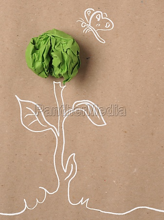 recycled paper background with green crumpled