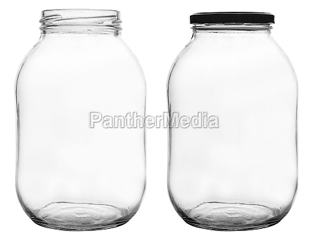 empty glass jar isolated on white