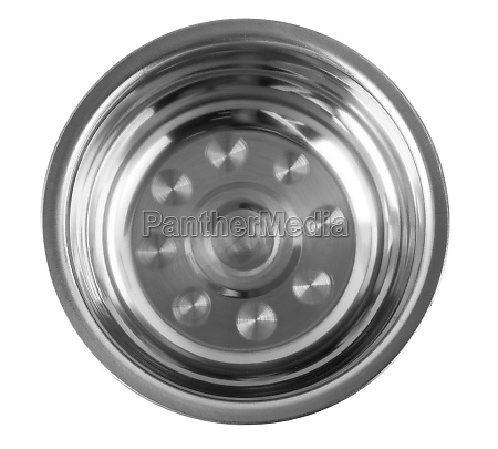 the stainless bowl on white background
