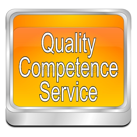 quality competence service button orange