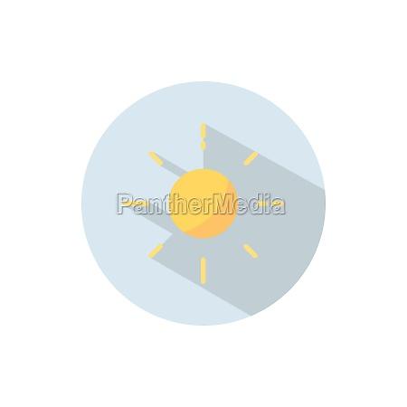 shining sun flat icon on a