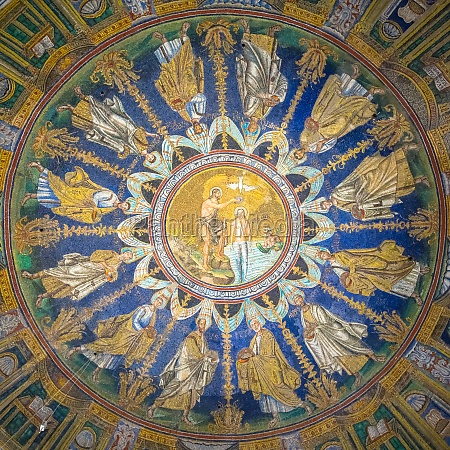 historic byzantine mosaic in saint vitale