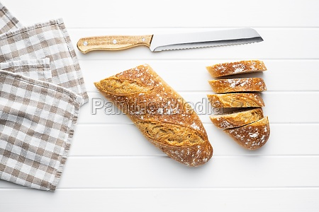 crispy fresh baguettes sliced baguette
