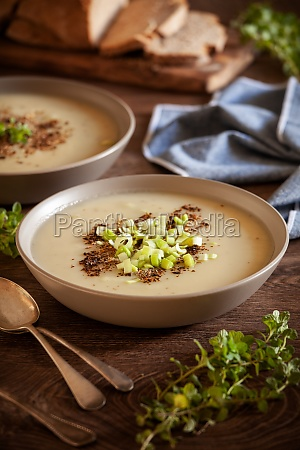 bowls of homemade leek and potato
