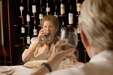 senior couple dining in restaurant