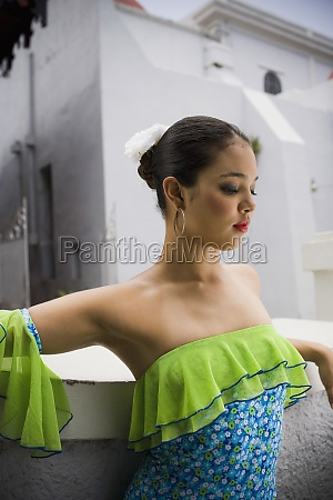 portrait of teenaged girl wearing plena
