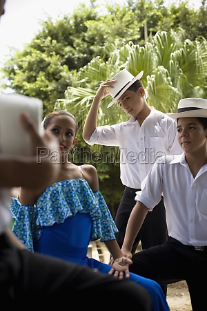 portrait of children in traditional plena