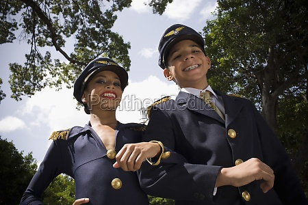 portrait of children wearing pilot and