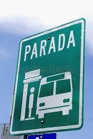 bus stop sign spanish