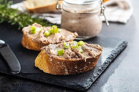 liver pate on sliced baguette