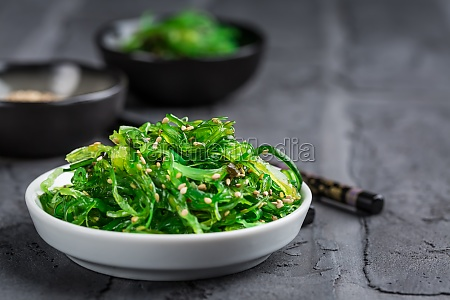 traditional japanese wakame salad with sesame