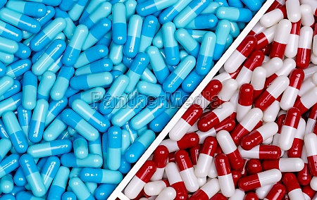 top view of blue capsules and