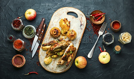 fried partridge with apples