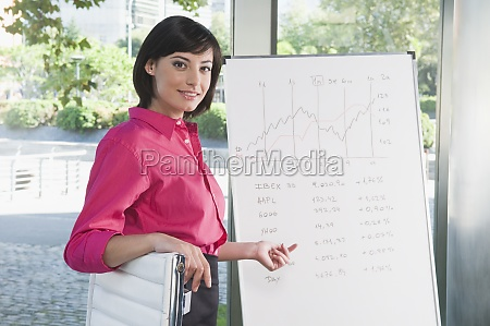portrait of a businesswoman pointing at