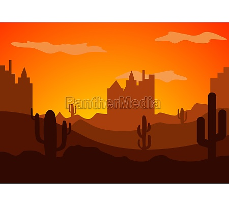 desert landscape with cactus hills and