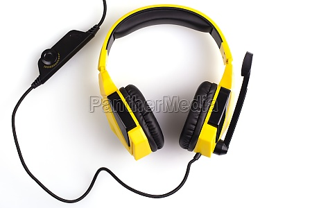the yellow headphones with a microphone