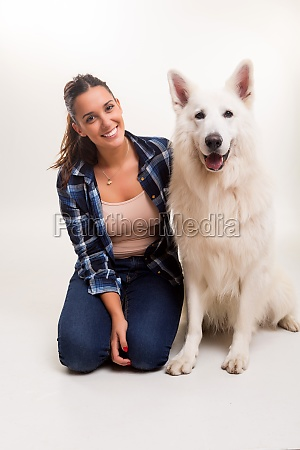woman and dog