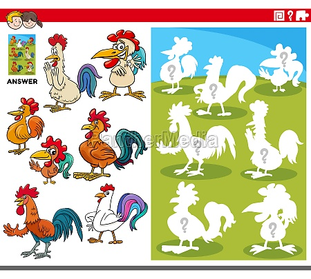 matching shapes game with cartoon rooster