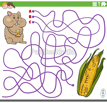 educational maze game with cartoon hamster