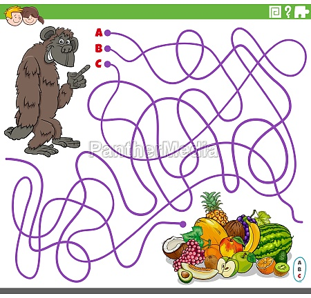 educational maze game with cartoon gorilla