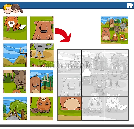 jigsaw puzzle game with comic animal
