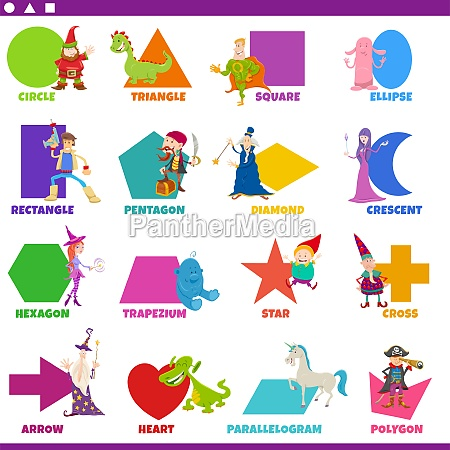 basic geometric shapes with fantasy characters