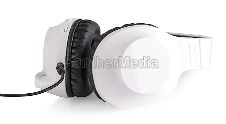 the white headphones with a microphone