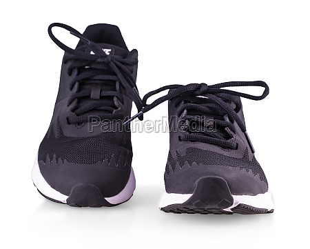 the black sneakers running shoes isolated