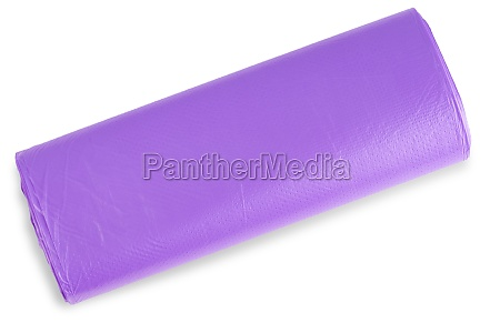 the violet roll of plastic garbage