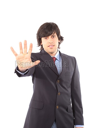man with open hand isolated on