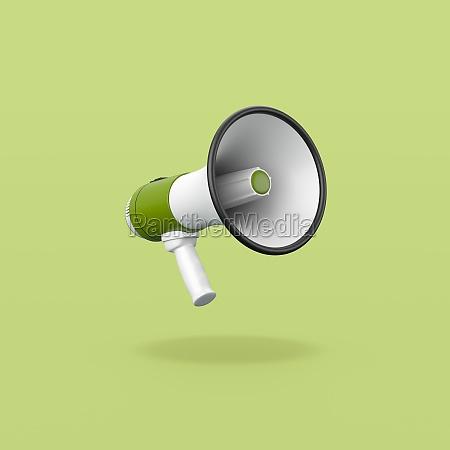 green and white megaphone on green