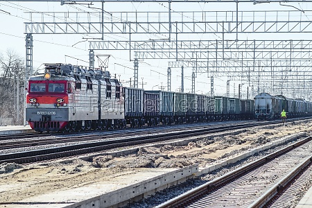 locomotive with freight cars railway the