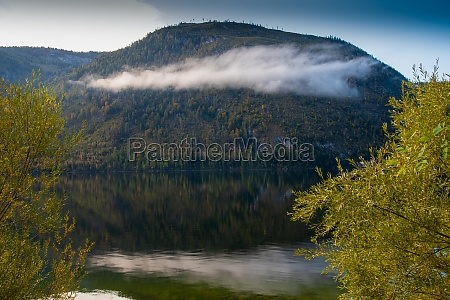 autumn morning with patches of fog
