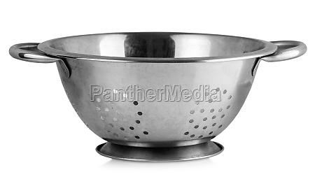 the old metal colander sieve isolated