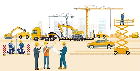 construction site with excavator architect and