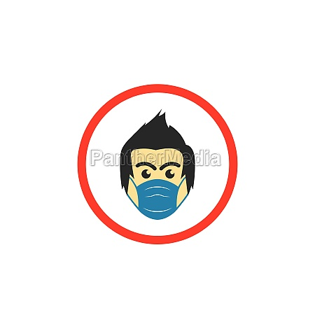 face man using pollution mask vector